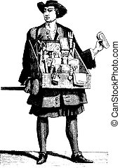A traveling haberdasher about 1680, vintage engraving - A...