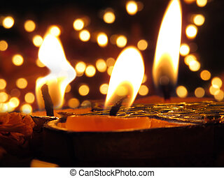 Traditional Lamps lit on the occassion of Diwali festival on...