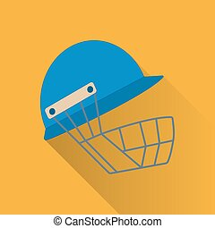 Cricket game flat icon - Cricket helmet flat icon. Colored...