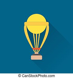 Cricket game flat icon - Trophy flat icon Colored flat image...