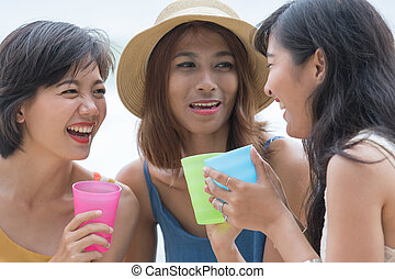 portrait of young asian woman with happiness emotion and...