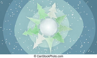 drawn planet with fir trees loop - drawn planet with fir...