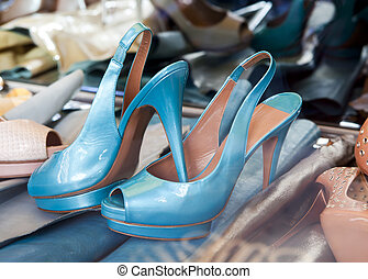 Blue beautiful womens shoes no name of production lie among...