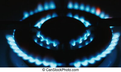 gas-burner, burning natural gas