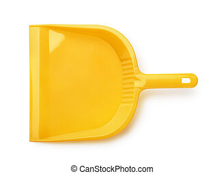 Dustpan - Top view of orange plastic dustpan isolated on...