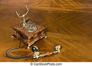 cogliere, su, telefono, antiquato, telefono