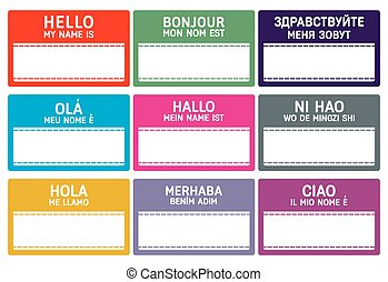 name tag - Different languages name tag with copy space