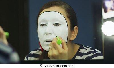 Woman mime makeup deals close-up