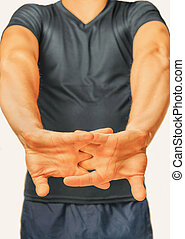 Fitness man - Man unbend fingers on a white background