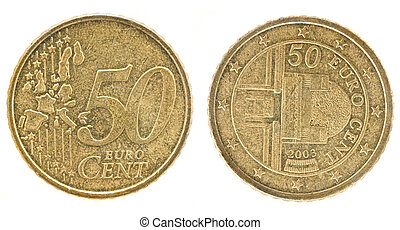 50 Euro cents- European Union money. Obverse and reverse