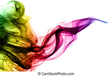 Abstract colorful fume curves over the white background