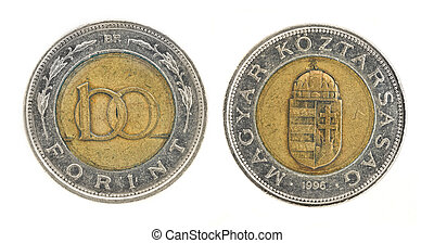 100 Forint - hungarian money. Obverse; reverse