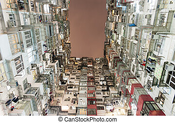 Crowded Hong Kong - Very Crowded but colorful building group...