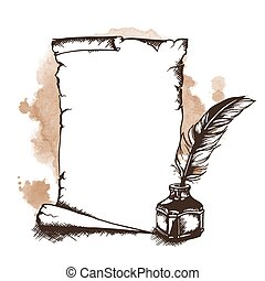Vector hand-drawn scroll and quill - Hand-drawn paper...