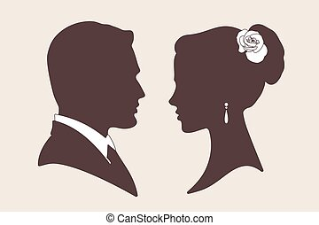 Vector groom and bride silhouettes