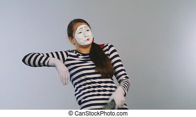 Woman mime emotional change TV channels