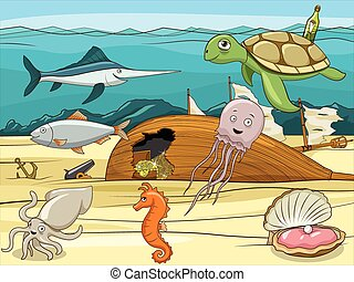 Sea life cartoon educational illustration - Sea life cartoon...
