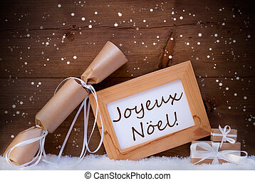 Gift With Text Joyeux Noel Mean Merry Christmas, Snowflake,...