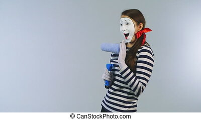 Woman mime invisible wall colors Hi quality ProRes HQ codec