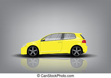 Yellow car - Side view of yellow car on grey background