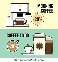 Special coffee offers for cafes. Printed poster, internet banner, advertising.