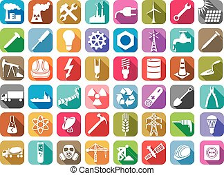 industry and energy flat icons collection