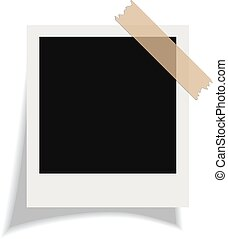 Vector blank instant photo card on white background