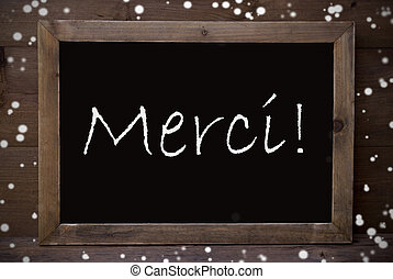Chalkboard With Merci Means Thank You, Snowflakes - Brown...