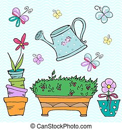Watering can - Collection of doodle sketch elements:...