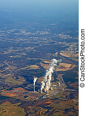 Aerial view of a power plant vertical