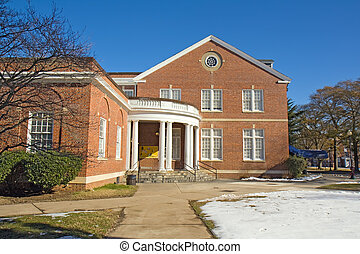 Jones Dining Hall on the campus of Virginia State University near Petersburg, Virginia, one of the public, Historically Black Colleges and Universities (HBCUs) with blue sky and white snow in winter