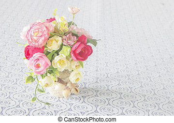 Flowers in a vase, vintage style for background.