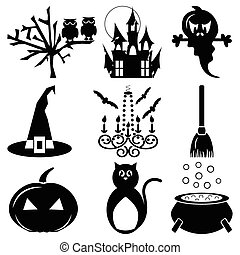 Halloween icons set 2 in black white including owl,spooky...