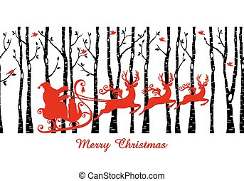 Santa in birch tree forest, vector - Santa with his sleigh...