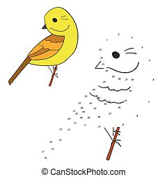 Connect the dots game yellowhammer bird vector - Connect the...