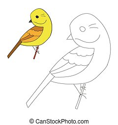Connect the dots game yellowhammer bird cartoon doodle hand...