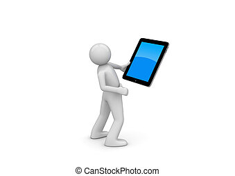 Happy ipad user (3d isolated on white background characters,...