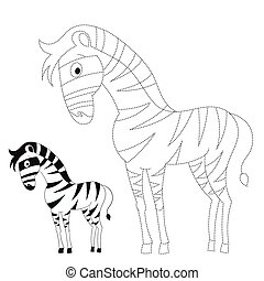 Connect the dots game zebra vector illustration - Connect...