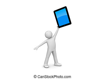 Happy ipad owner 3d isolated on white background characters,...