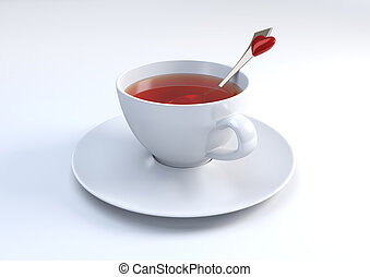 Cup of tea with lovely spoon 3d isolated objects series