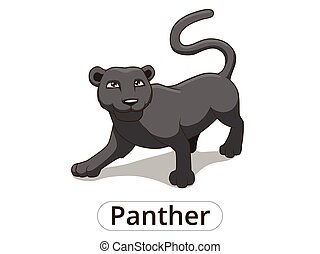 Panther african savannah cartoon illustration - Panther...