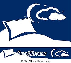 Sweet dreams. Label and banner for design. Vector...