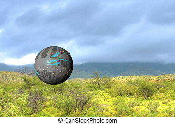 spaceship through the clouds - A spherical spaceship fly...