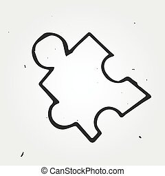 Vector puzzle isolated, hand drawn