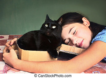teen  pretty girl hug black cat close up portrait