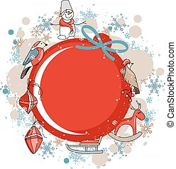 Round red frame with Christmas decor