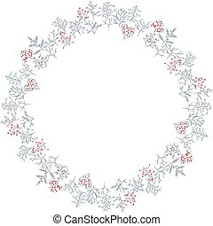 Round frame with different winter trees Wreath for your...
