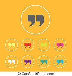 Quote sign icon set Quotation mark button - Quote sign icon...