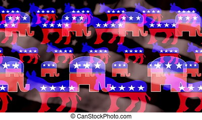 Democrat Donkey Republican Elephant Looping Animated...