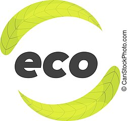 eco logo template with backgound maded of leaf texture
